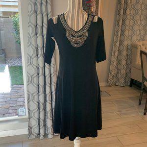 Black Beaded Cold Shoulder Dress